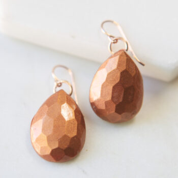 mica teardrop gem earrings poc project copper next romance faceted