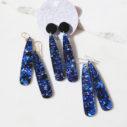 blue black glitter long paddle earrings stick new romance jewellery australia