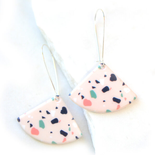 _LONG drop terrazzo pink party earrings
