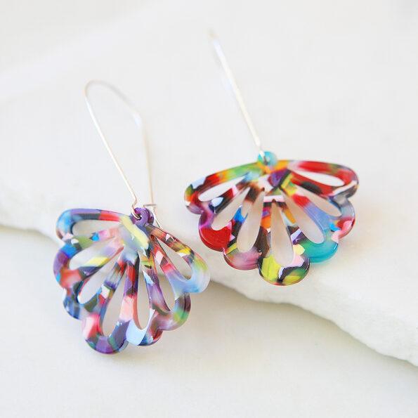 _LONG drop butterfly multi-coloured party earrings