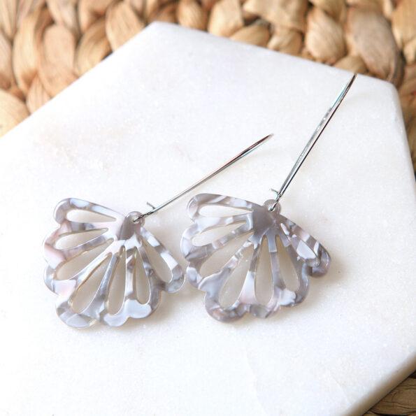 _LONG drop butterfly grey white party earrings fun