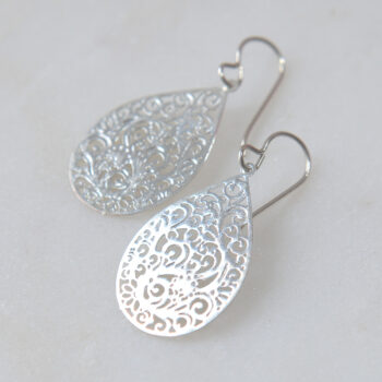 teardrop filigree earring next romance silver jewellery