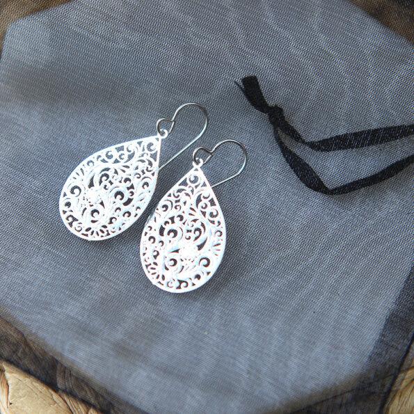 teardrop intricate lazercut filigree earring next romance silver jewellery