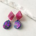 ISO-PARTY resin glittery gem drop earrings PINK next romance
