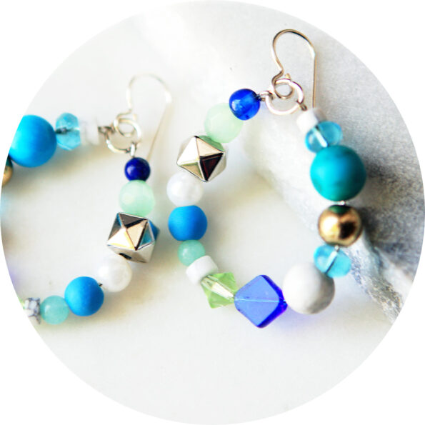 _ BEAD HOOP earrings – BLUES silver ceramic and pearl