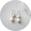 pearl silver drop earrings