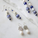 pearl silver drop earrings and blue bar beads next romance jewellery