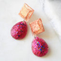 ♥resin pink rose gole triangle teardrop next romance jewellery