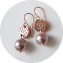 copper rose gold hammered pearl earrings by next romance jewellery australia