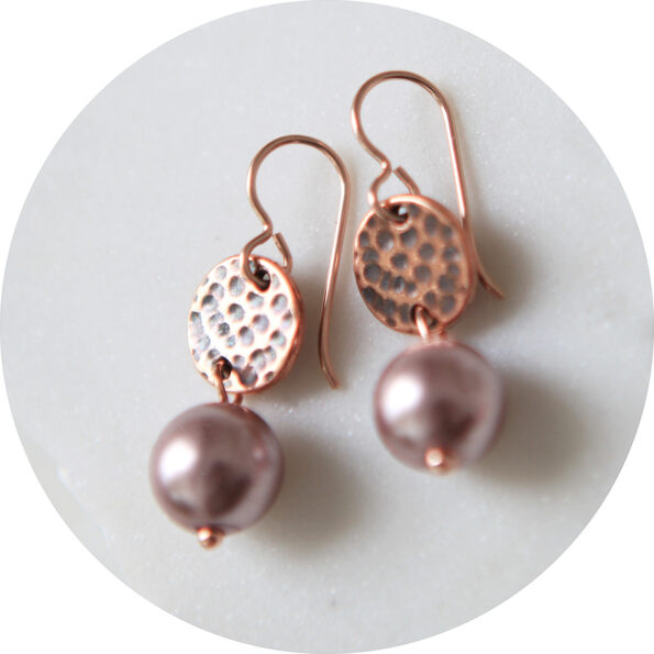 _  Pearl DROP Hammered coin earrings – copper