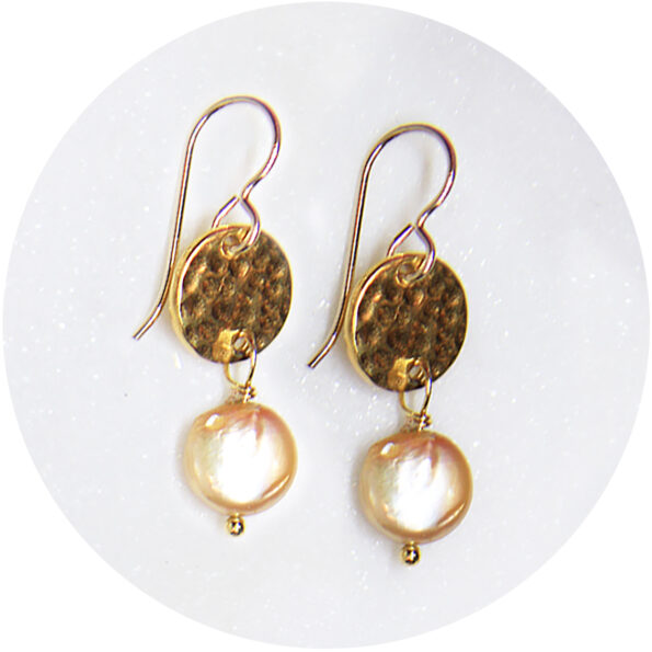 hammered gold Pearl earrings NEXT ROMANCE jewellery