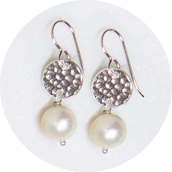 _  Pearl DROP Hammered coin earrings – gold silver rose gold