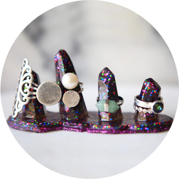 crystal resin 4x ring holder stand MULTIcoloured new next romance jewellery crop