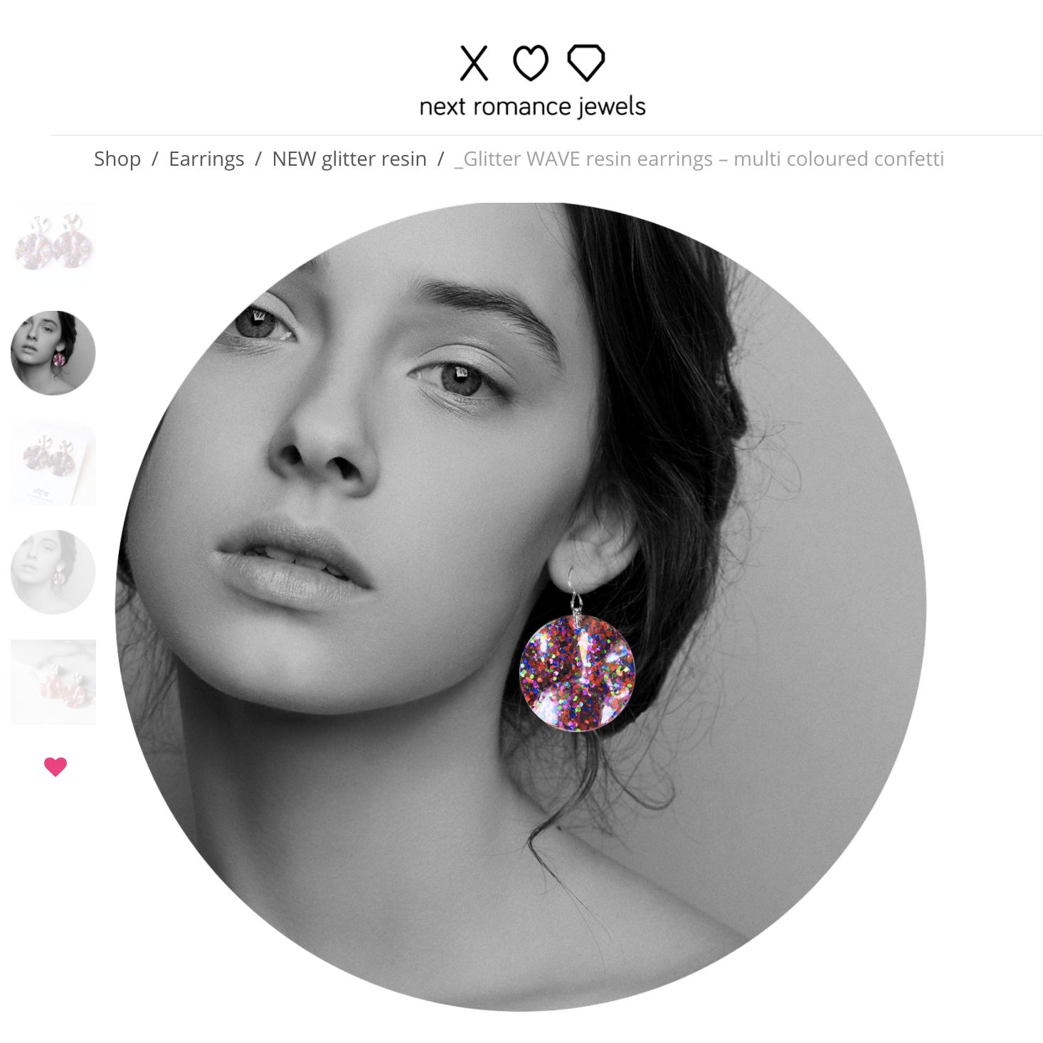 unique handmade resin glitter earrings by next romance jewellery australia