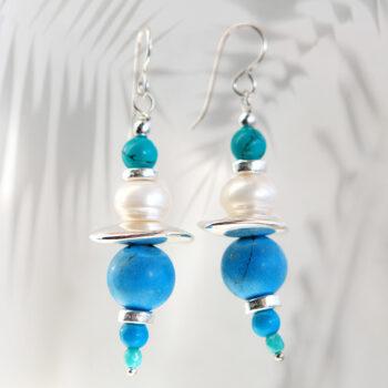 silver blue turquoise earrings gemstone bar boho funky unique design next romance